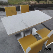 narrow long 2m artificial marble stone dining table top for restaurant