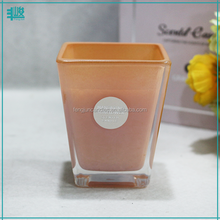 FengJun spray color inside square jar art candle scented
