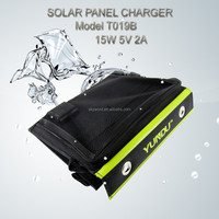 15W Portable Wallet Solar Charger+Foldable Solar Panel Bag+Traveling Supply+USB Output