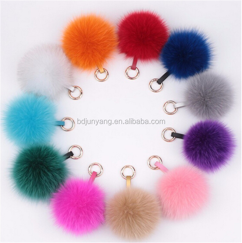 Plush faux fur bag charm unicorn fur pom key ring fur pom pom ball