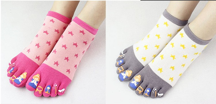 colorful white cute dots cotton toe socks