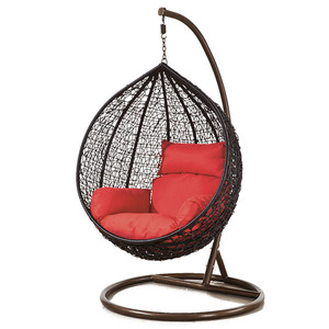 Outdoor patio rattan hanging wicker egg chair patio swing chair with stand