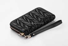 Luxury Zipper leather lady purse embroidered leather wallet for women
