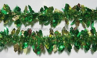 popular front christmas tinsel door garland ,apple green &gold glowing home decor