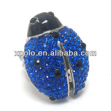 new arrival animal ladybug shaped crystal stretch ring