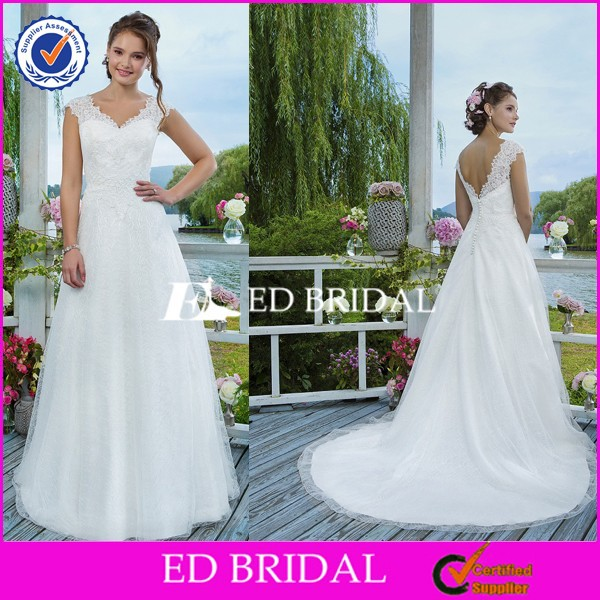 CE1234 2016 V-Neck A-Line Low Back Lace Bridal Dress Buttons Down The Back