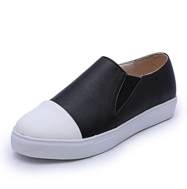 New Arrival Women Fashion Solid Color Black White 2015 Brand Spring Summer Autumn Woman Flats Sneakers Shoe Size 35-39 DX2494