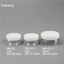 Wholesale cheap customized square 3 ml,5 ml ,10 ml empty PS plastic jar/ empty cream jar/ cosmetic packaging