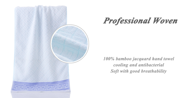 China supplier custom 100% bamboo fiber blue face towel with border