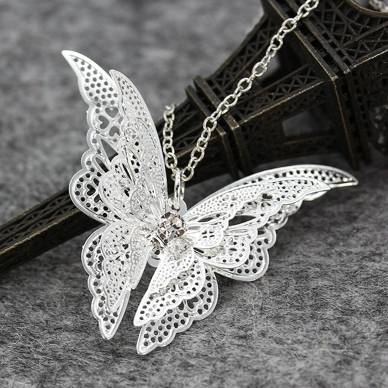 Hot Sell Silver plated Butterfly Jewelry Diamante Wings Pendant Necklace Customized Chain