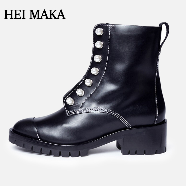 2018 Fashion Black Pearl womens genuine leather sheepskin lined boots genuine leather ankle women shoes boots