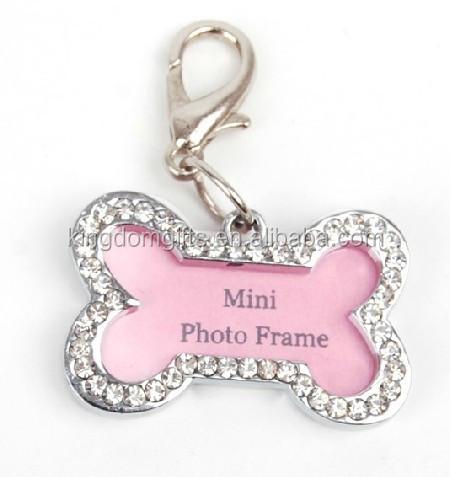 metal bone shape mini frame diamante key chains/key rings, diamante bone photo frame zipper pullar