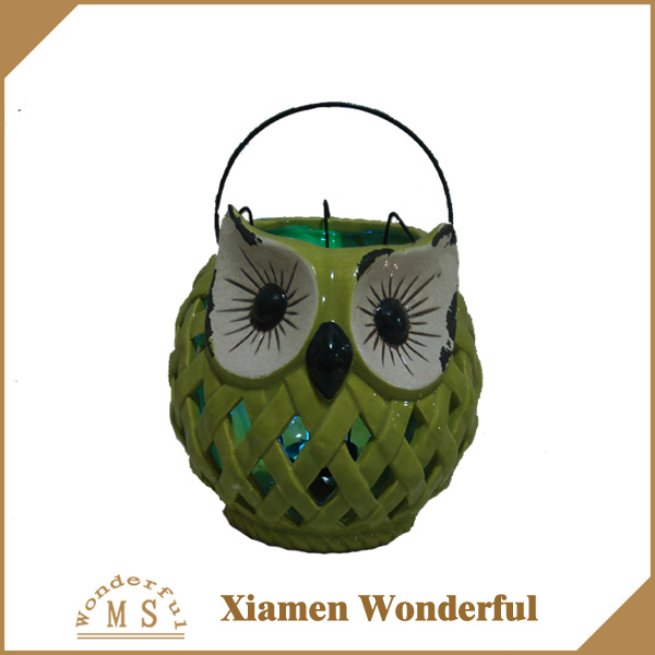 new design owl shape ceramic lantern for outdoor garden decor