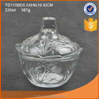 Decorative fancy glass candy dish serving bowls for food with glass lid