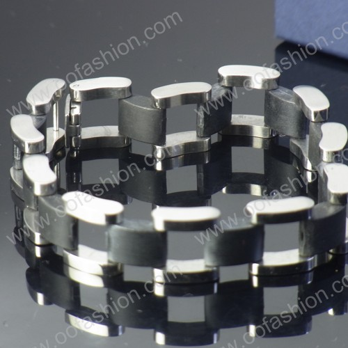Stainless steel links rubber bracelet for man at low cost to custom design for kids boys