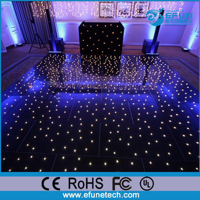 acrylic led sparkle dance floor panels, led white/black starlit dance floor