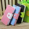2014 Hot selling Lovely two colors button wallet leather case for Galaxy S4 mini with card slot and stand ,inside is soft tpu