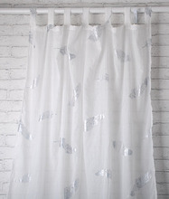 hot silver feathers printed curtain