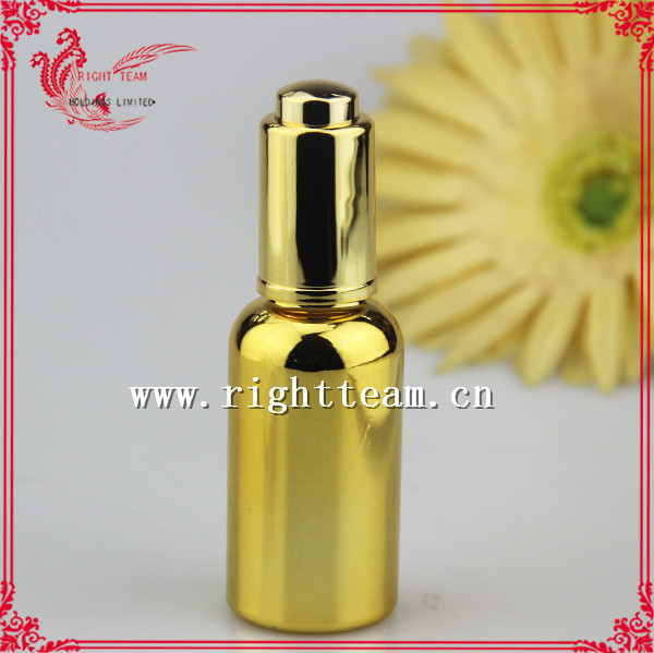 Gold electroplating 30ml glass bottle with pump dropper