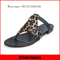2016 new design leopard genuine leather upper round toe comfortable wearproof rubber new style flat flip top slippers