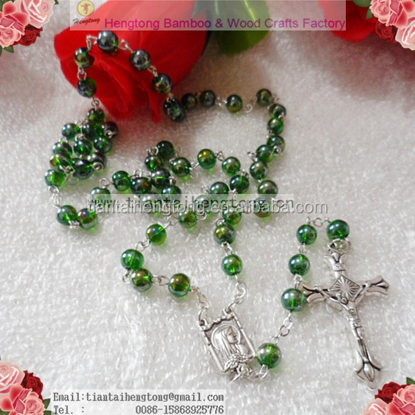 6mm AB coated Green color glass round bead rosary necklace