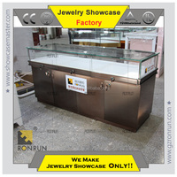 Jewelry display counter furniture stainless steel jewelry display case for sales