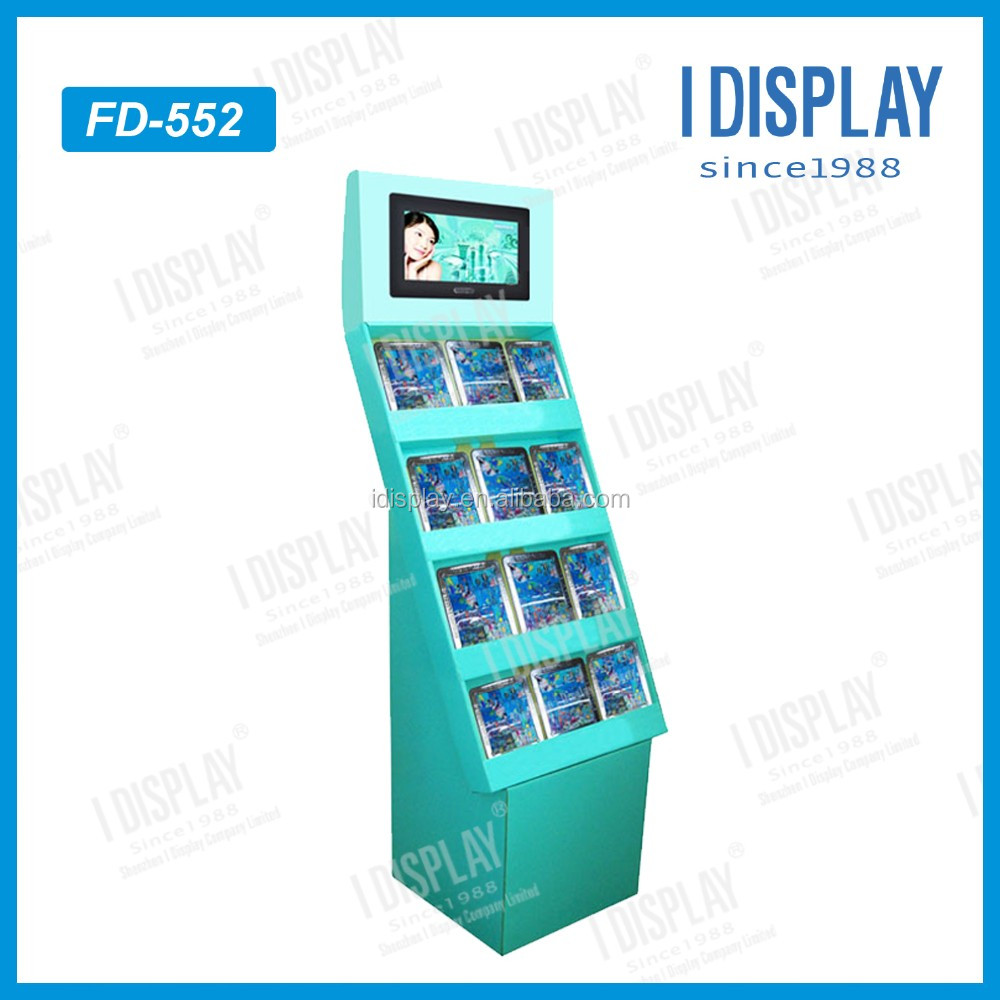 pop pos lcd cardboard display with video screen cardboard floor display