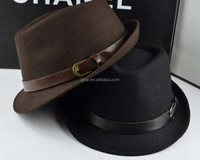 fuzz felt trilby Fedora Hat cap with button leather belt S-023