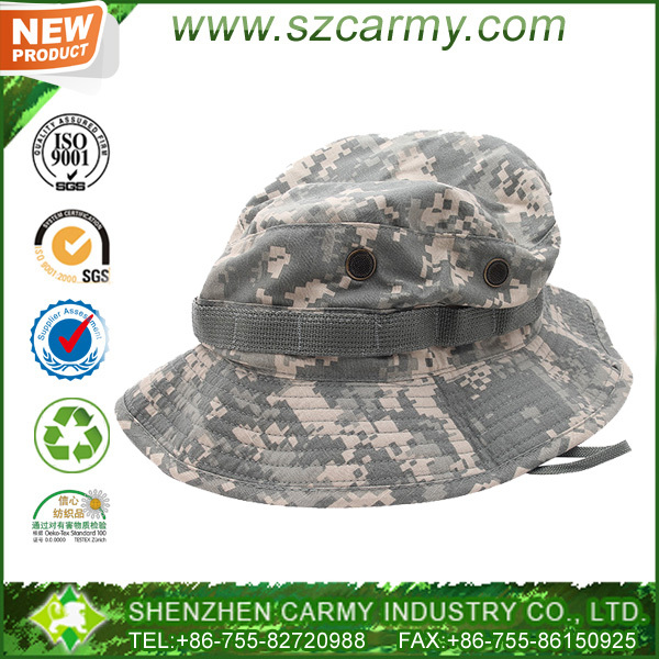 Cotton / polyester ripstop ACU digital camouflage military boonie hat