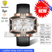 Newest fashion men's watch with japan movement &diamond design