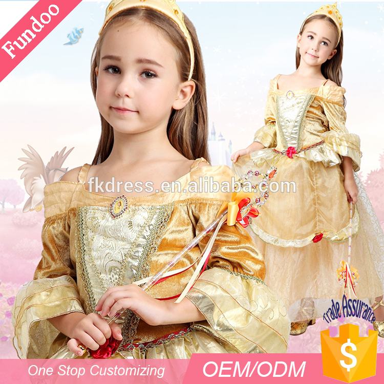 2017 High Quality Luxury Golden Belle Princess Costumes Kids Dress for Birthday and Masquerade Party