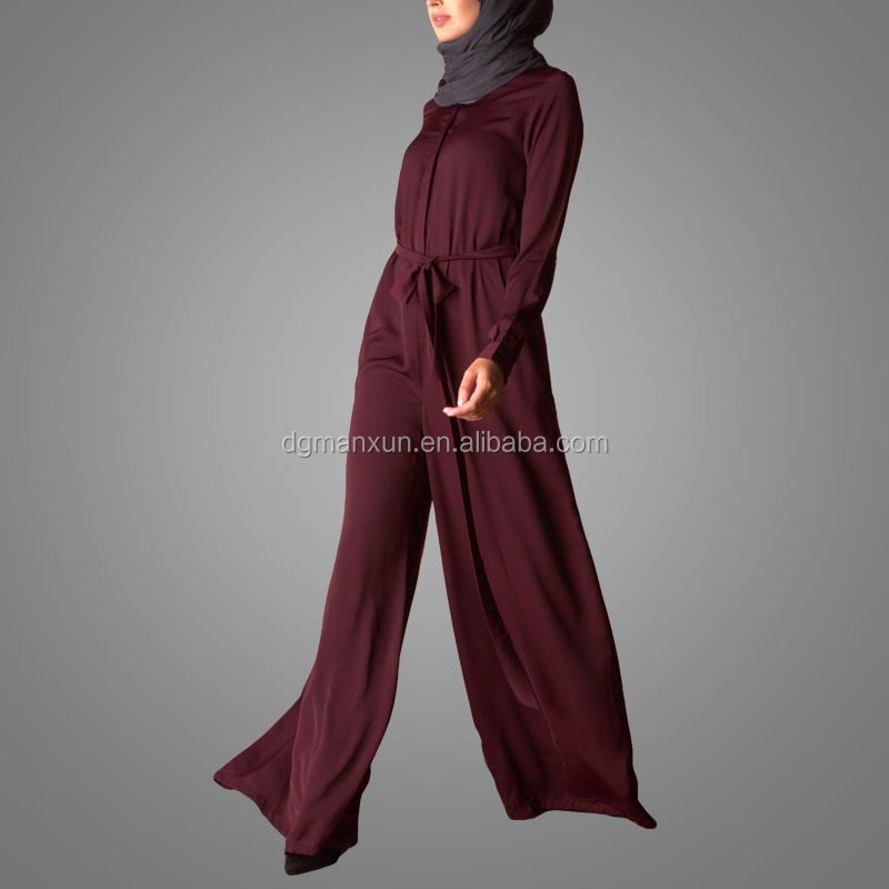 New Customized Loose Fitting Apparel Jumpsuit in Women Abayas Jumpsuit Pajama for Muslims
