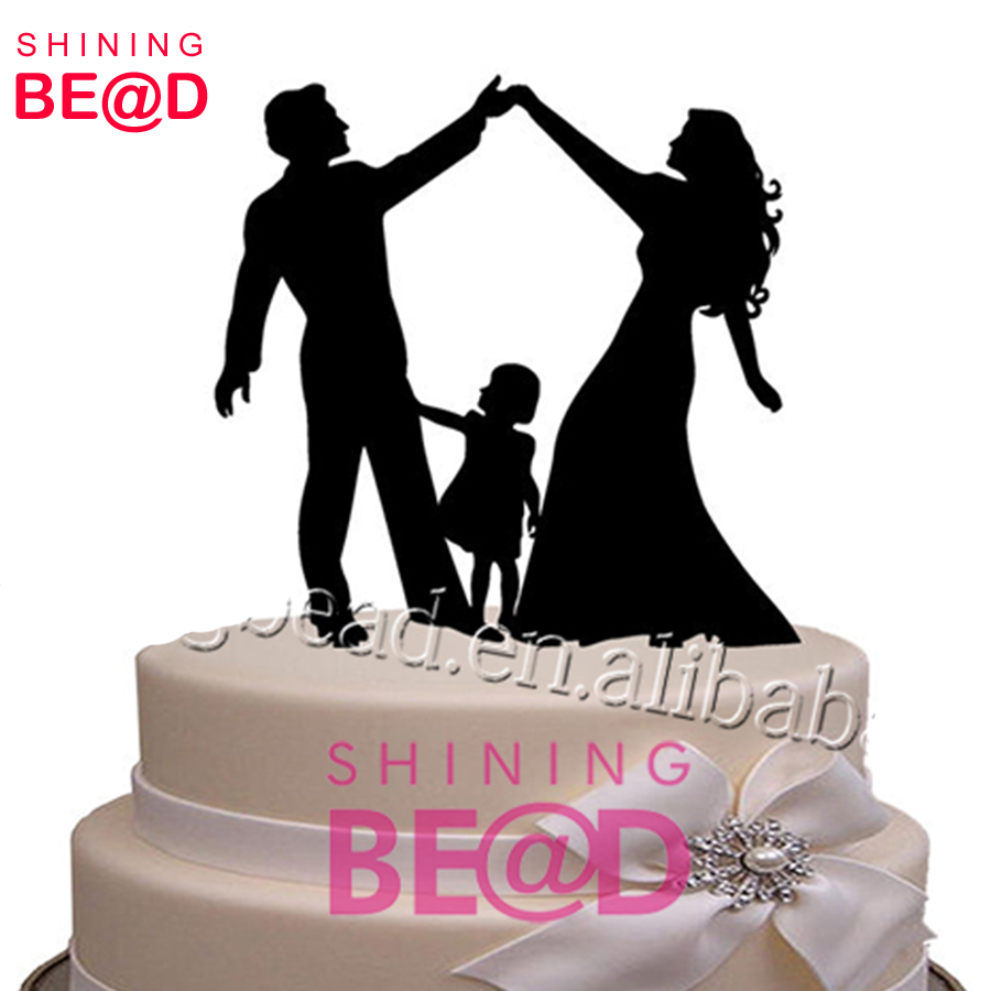 Alibaba New Fashion Bride and Groom and little girl family acrylic wedding cake topper wholesale