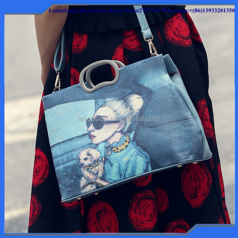 2016 Summer Cartoon Printing Lady Handbag Girls Classy Shoulder Bag Big Size for Lady