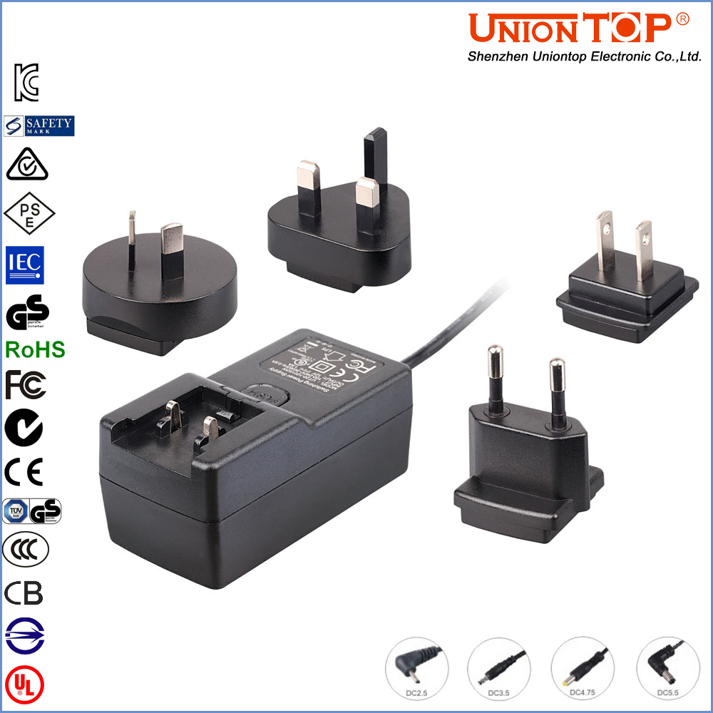 Interchangeable multi plugs replacement 12V 1A set top box power supply for switch mode