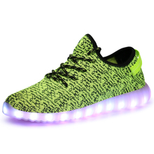 LOW MOQ OEM wholesale women men luminous led light running sport shoes