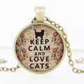 The new hot I LOVE CATS gem pendant necklace jewelry