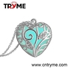 Hot sale luxury fashion new design glow in the dark heart necklace, heart locket necklace