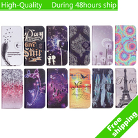 For iPod Touch 5 Touch 6 Painted Pattern Horizontal Flip Leather Case with Card Slots Holder free shipping
