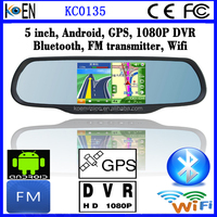 Android FM Wifi 5.0 Inch Touch Screen 1080P DVR Bluetooth Rearview Mirror Car GPS Navigation