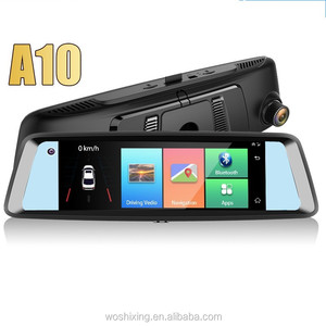 4G A10 car dash cam dual cameras forward+inward+reverse 7 inch rear view mirror dvr navigation adas