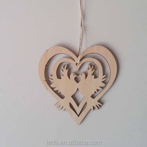 2016Teda laser cut Love Birds Lovers plywood <strong>art</strong>&crafts wooden decorations