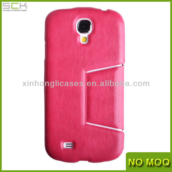 New product stand leather case for Smsung Galaxy S4, mobile phone case for I9500