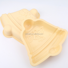 Household Heat Resistant Christmas Bell Design Non Stick Bundt Cake Pan Bread Chocolate Bakeware Silicone Mould Cake