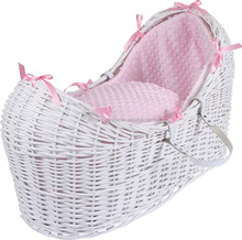 Pod wicker baby Moses basket in white