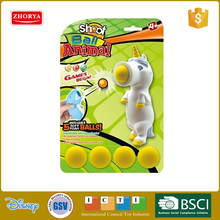 Zhorya New Design Unicorn Shape Kid Outdoor Air Powered Shooting Soft Ball Toy Pop Gun