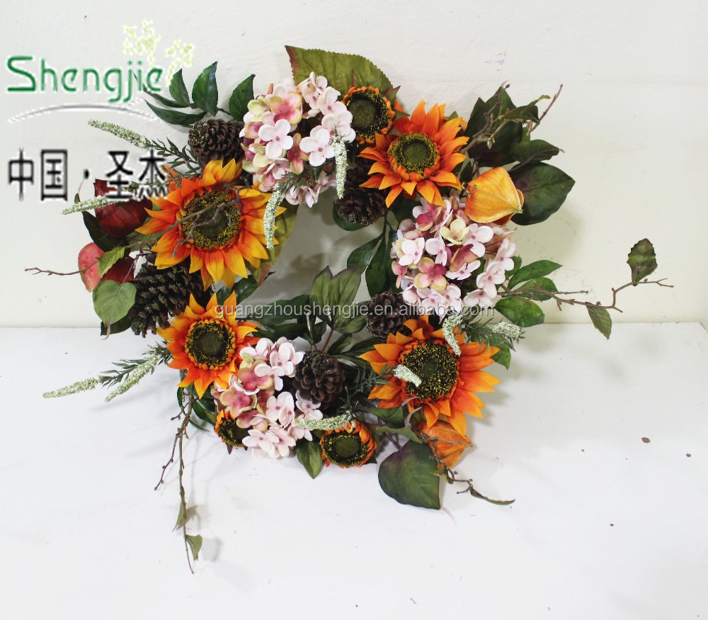 beautiful artificial indoor cheep christmas wreath Hydrangea&sunflower flower dried flower christmas wreath