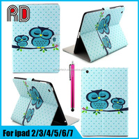 High quality Animal Shaped Painting Card Holder Leather Flip Stand Cover Case for Ipad Mini 4