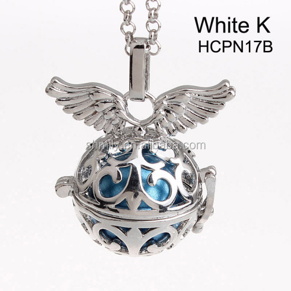 Wholesale 5 Colors Openable Angel Wing Hollow Chime Box Cage Musical Sound Ball Pendant Pregnancy Necklaces For Mother HCPN17
