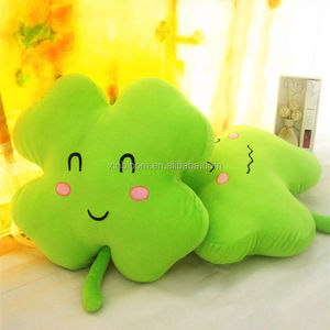 creative lovely green four leaves clover smiling face expression plush back pillow cushion